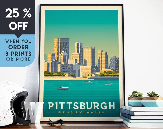 Pittsburgh Vintage Travel Poster, Wall Art Print, Minimalist, City Skyline, World Map Art, Cityscape Sunset illustration, Home Decor, Gift