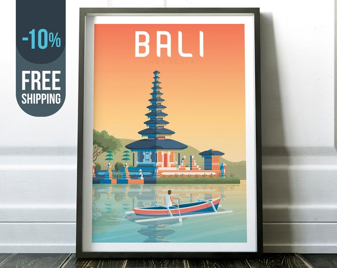 Bali Indonesia Asia Vintage Travel Poster, Bali Indonesia vintage print wall art, Sunset Nature decor, Bali skyline, Bali Asia decor gift