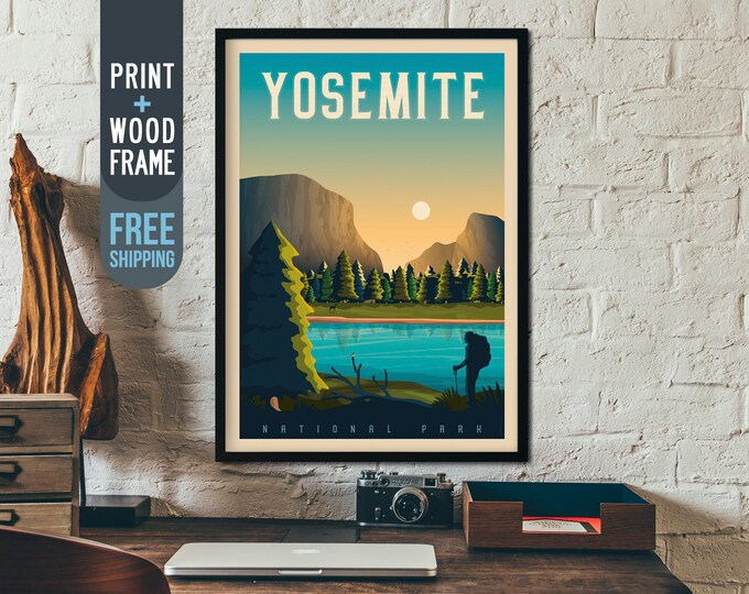 Yosemite National Park Print - California Travel Poster, framed poster, Yosemite wall art, home decor, wall decor, gift idea, retro print