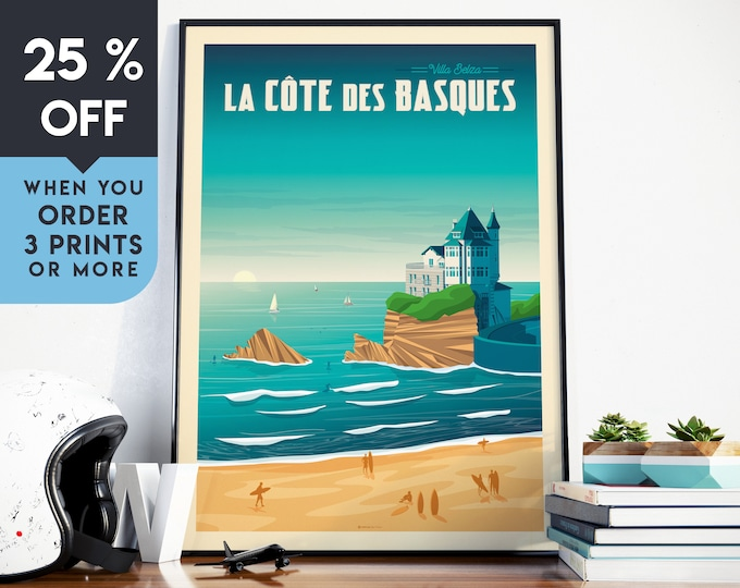Biarritz France Vintage Travel Poster, Wall Art Print, Minimalist, City Skyline, World Map Art, Beach Surf illustration, Home Decor, Gift