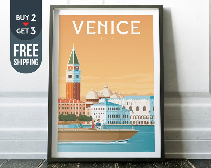 Venice Italy Print - Venice Travel Poster, Venice Italy vintage print, Venice wall art home decoration, Venice illustration, Venice city map