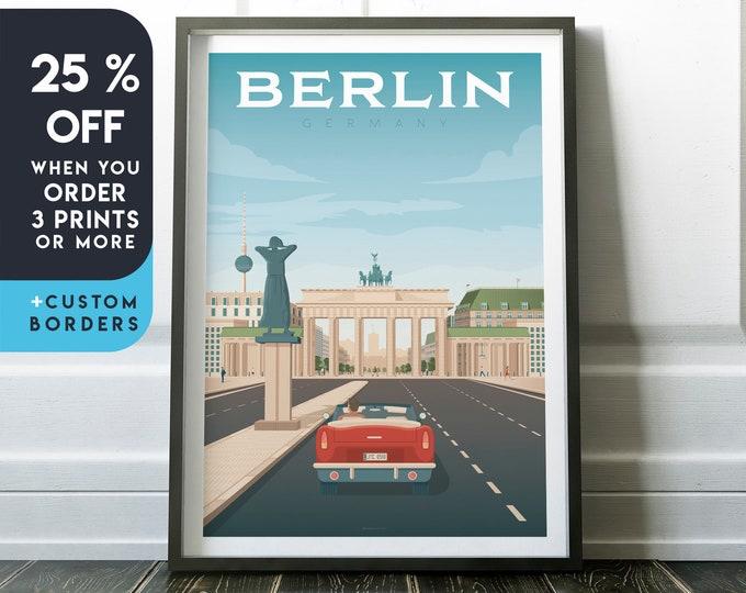 Berlin Print | Berlin Vintage Travel Poster | Germany Print | Berlin Poster | Germany Poster | City Skyline Wall Art | Home Decor | Gift