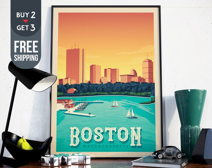Boston Massachusetts USA Travel Poster, Boston vintage print, Boston decor, vintage print, home decor, Travel decor, usa wall art print