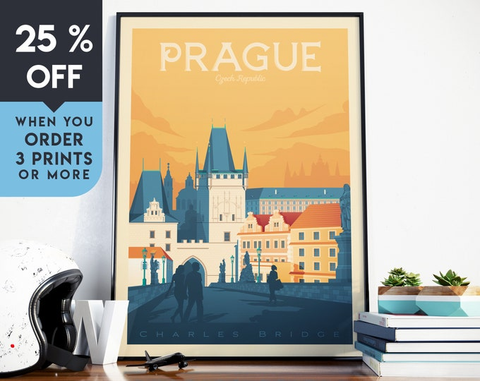 Prague Czech Republic Vintage Travel Poster, Wall Art Print, Minimalist, City Skyline, World Map Art, Retro illustration, Home Decor, Gift