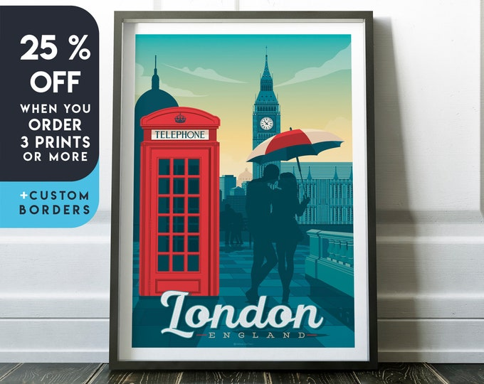 London Print | London Vintage Travel Poster | England Print | London Poster | England Poster | City Skyline Wall Art | Home Decor | Gift