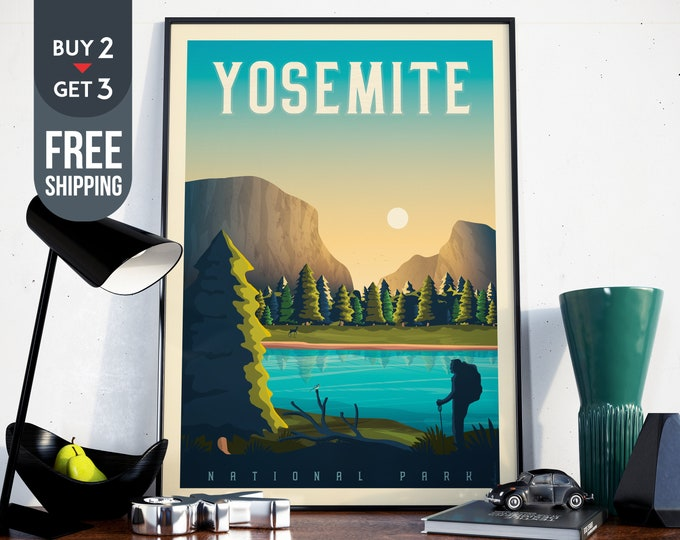 Yosemite National Park Print - California Vintage Travel Poster, National Park wall art, Yosemite home decor, usa wall art, usa travel decor