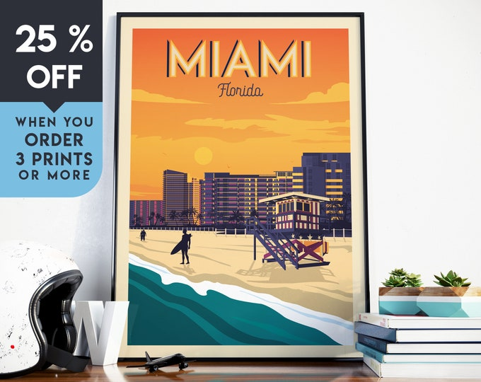 Miami Beach Florida Vintage Travel Poster, Wall Art Print, Minimalist, Skyline, World Map Art, Tropical Surf illustration, Home Decor, Gift