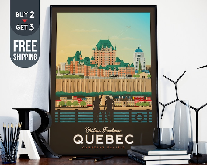 Québec Château Frontenac Print  - Québec City Vintage Travel Poster, vintage print, wall art, home decoration, wall decoration, gift idea