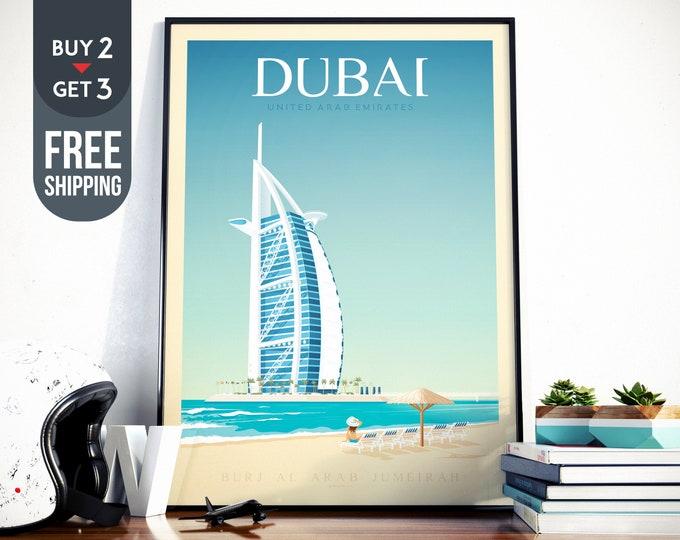 Dubai UAE Travel Poster, Dubai vintage print, Dubai United Arab Emirates Skyline, beach sea surf wall art decor, Dubai home decor, Gift Idea