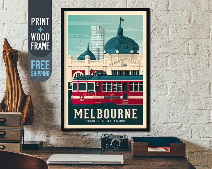 Melbourne Australia Vintage Travel Poster, framed poster, Australia wall art, home decoration, wall decoration, gift idea, retro print