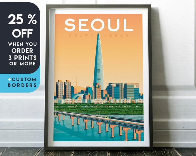 Seoul Print | Seoul Vintage Travel Poster | South Korea Print | Asia Poster | South Korea Poster | Skyline Wall Art | Home Decor | Gift