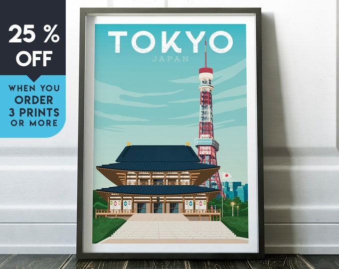 Tokyo Japan Vintage Travel Poster, Wall Art Print, Minimalist, City Skyline, World Map Art, Cityscape Asia illustration, Home Decor, Gift