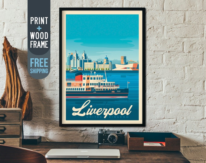 Liverpool England UK Vintage Travel Poster, framed poster, UK wall art, England home decoration, wall decoration, gift idea, UK retro print