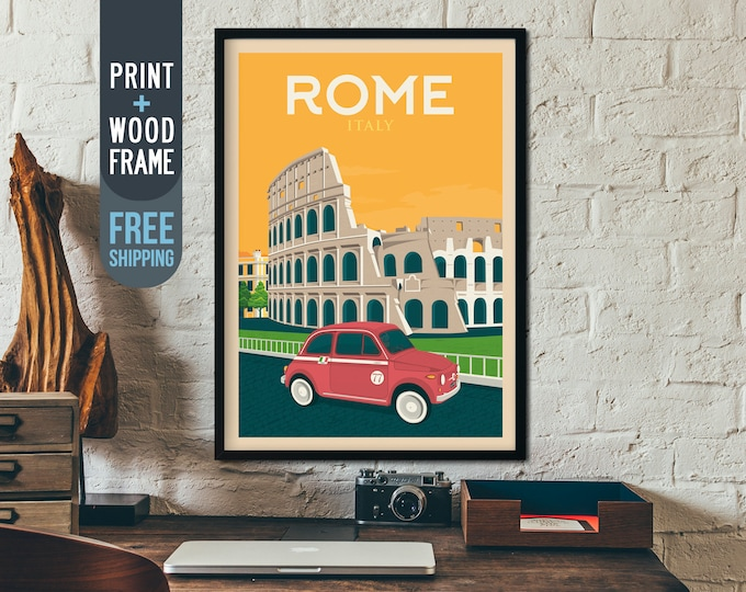Rome Italy Coliseum Vintage Travel Poster, Rome framed poster, Rome Italy wall art, home decoration, wall decoration, gift idea, retro print