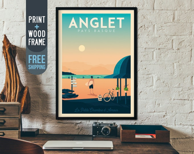 Anglet France Travel Poster - France Vintage Travel Poster, vintage print, surf wall art, home decoration, art deco print, beach decoration