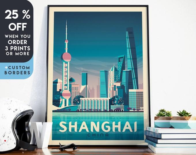 Shanghai Print | Shanghai Vintage Travel Poster | China Print | Shanghai Poster | Asia Poster | Skyline Wall Art | Home Decor | Gift
