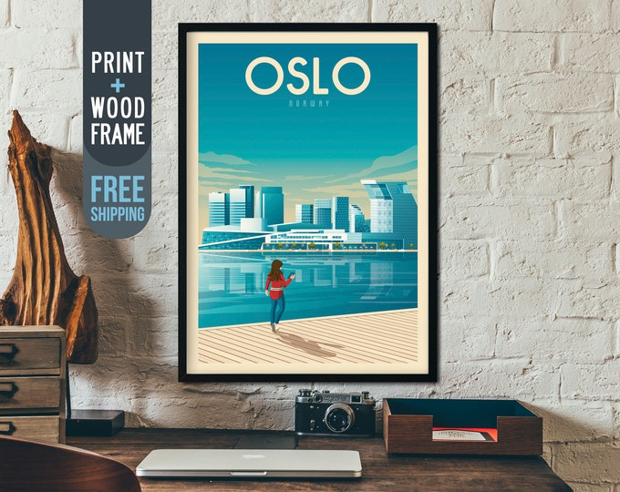 Oslo Norway Vintage Travel Poster, Oslo framed poster, Oslo Norway wall art, Norway home decoration, Oslo wall decoration, Norway gift idea