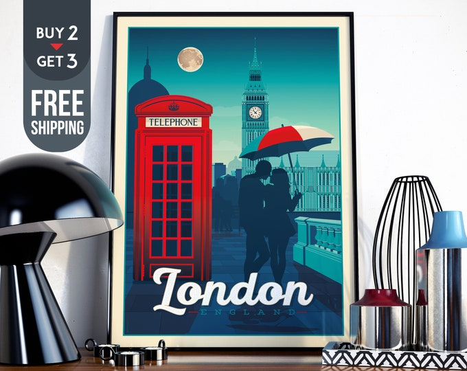 London England Vintage Travel Poster, London city print, London UK wall art, Big Ben London map illustration home wall decoration, gift idea