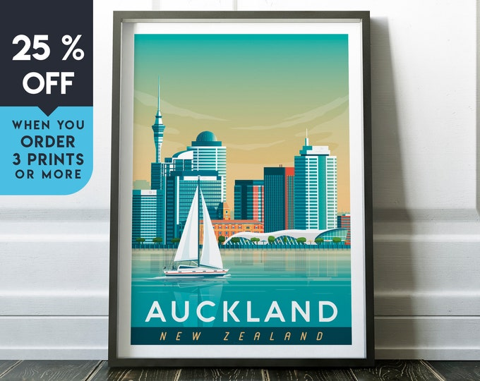 Auckland New Zealand Vintage Travel Poster, Wall Art Print, Minimalist, City Skyline, World Map Art, Seascape illustration, Home Decor, Gift