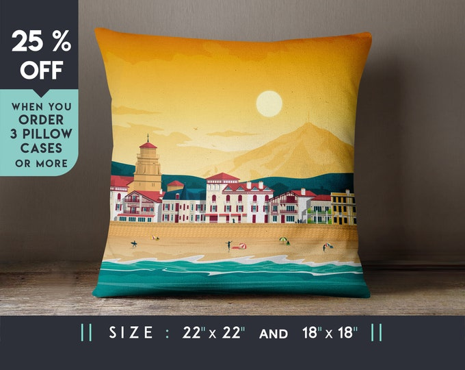 St Jean de Luz France Pillow Case [22x22] Cushion cover, Travel Art Print, Geometry Minimalist, City Skyline, Cityscape illustration, Gift