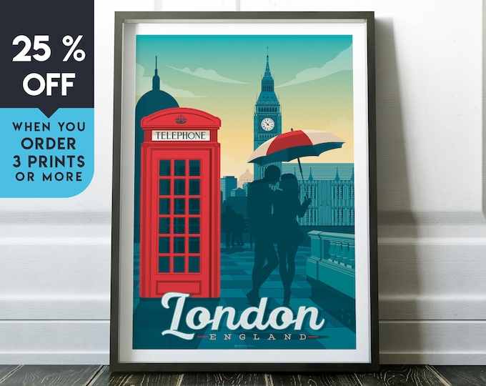London Vintage Travel Poster, Wall Art Print, Minimalist, City Skyline, World Map Art, Cityscape Big Ben UK illustration, Home Decor, Gift