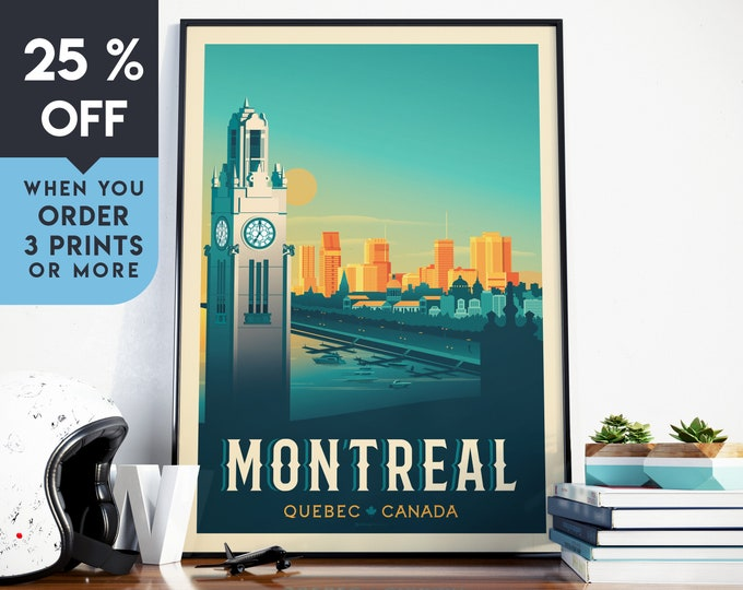 Montréal Canada Vintage Travel Poster, Wall Art Print, Minimalist, City Skyline, World Map Art, Cityscape illustration, Home Decor, Gift