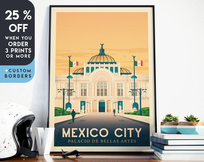 Mexico Print | Mexico Vintage Travel Poster | America Print | Mexico City Poster | City Skyline Wall Art | Home Decor | Gift
