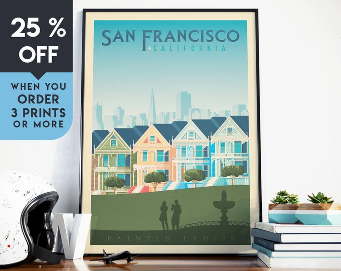 San Francisco California Vintage Travel Poster, Wall Art Print, Minimalist, City Skyline, World Map Art, illustration, Home Decor, Gift