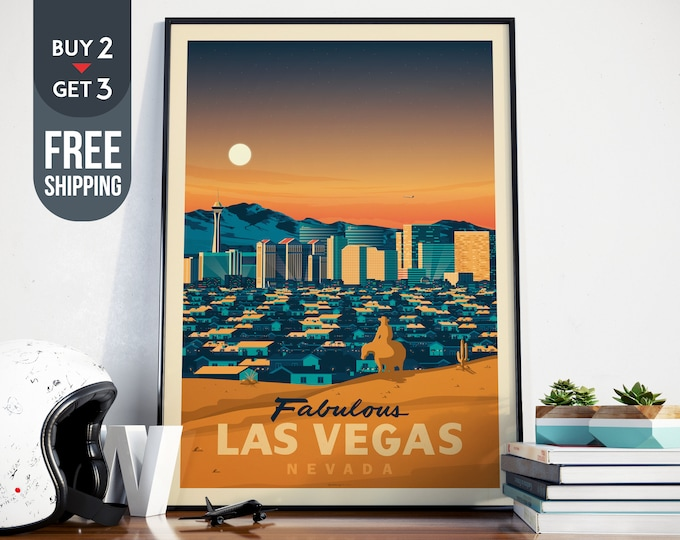 Las Vegas USA Print - Las Vegas Vintage Travel Poster, USA vintage print, usa wall art, home decoration, usa wall decor, USA gift idea