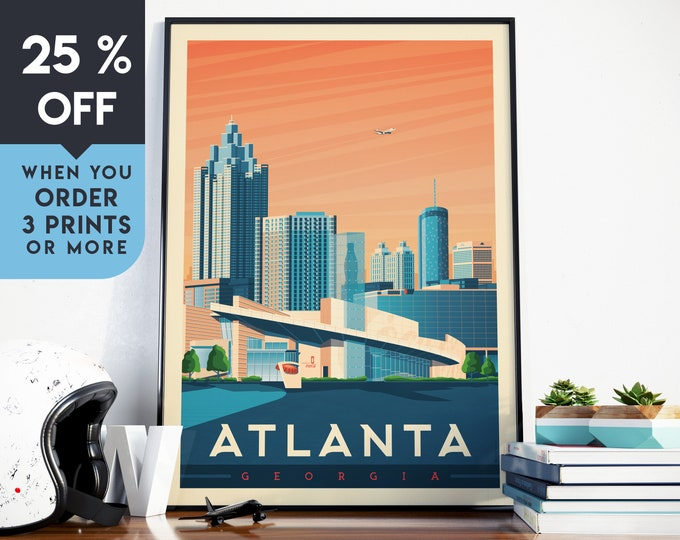 Atlanta Georgia Vintage Travel Poster, Wall Art Print, Minimalist, City Skyline, World Map Art, Cityscape illustration, Home Decor, Gift