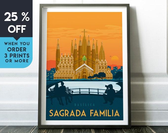 Barcelona Vintage Travel Poster, Wall Art Print, Minimalist, City Skyline, World Map Art, Cityscape Retro illustration, Home Decor, Gift
