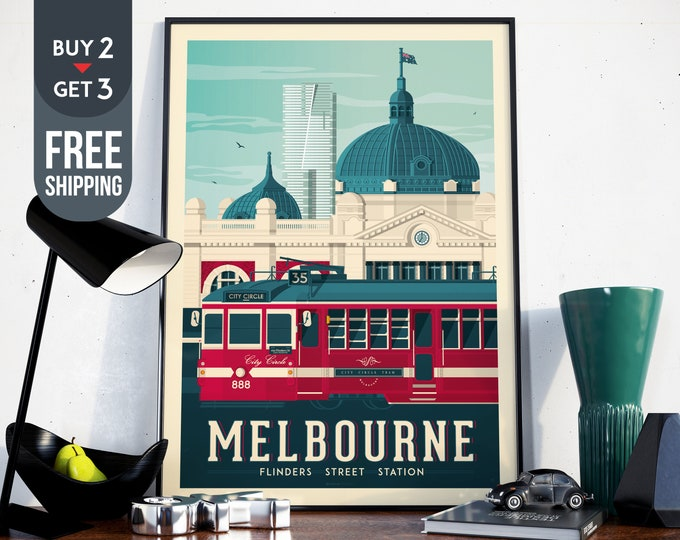 Melbourne Australia Vintage Travel Poster, Melbourne Australia vintage print, Melbourne wall art, home decoration, Australia travel decor