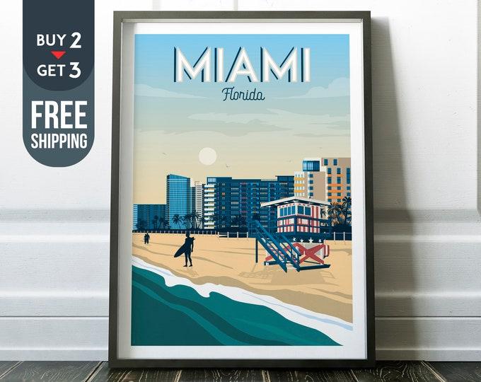 Miami Florida USA America Vintage Travel Poster, Miami vintage print, usa wall art, travel decor, USA wall decor, surf poster, beach print