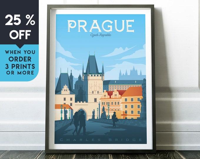 Prague Czech Republic Vintage Travel Poster, Wall Art Print, Minimalist, City Skyline, World Map Art, Retro illustration, Home Decor, Gift