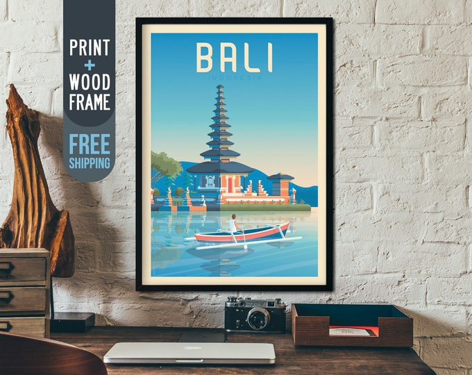Bali Indonesia Asia Travel Poster, Bali Asia framed print, Bali Indonesia Skyline wall art, Bali home wall decoration, Bali Asia gift idea