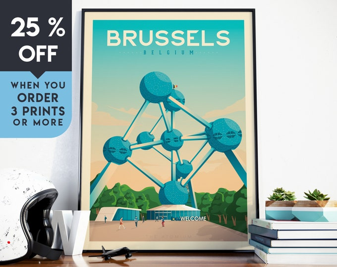 Brussels Belgium Vintage Travel Poster, Wall Art Print, Minimalist, City Skyline, World Map Art, Cityscape illustration, Home Decor, Gift