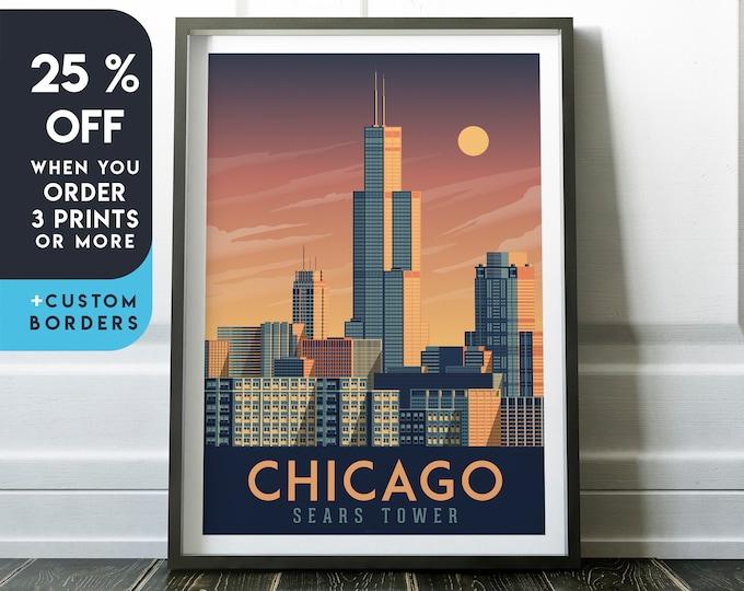 Chicago Print | Chicago Vintage Travel Poster | Chicago Print | Chicago Poster | Chicago City Skyline Wall Art | Home Decor | Gift