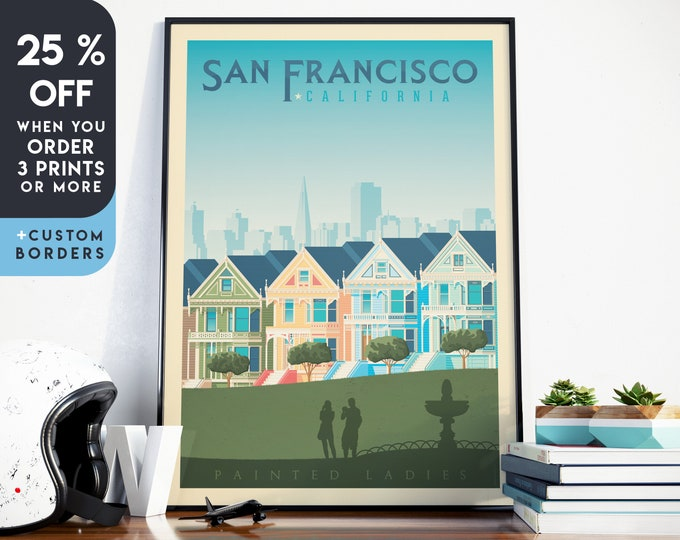 San Francisco Print | San Francisco Vintage Travel Poster | California Print | California Poster | City Skyline Wall Art | Home Decor | Gift