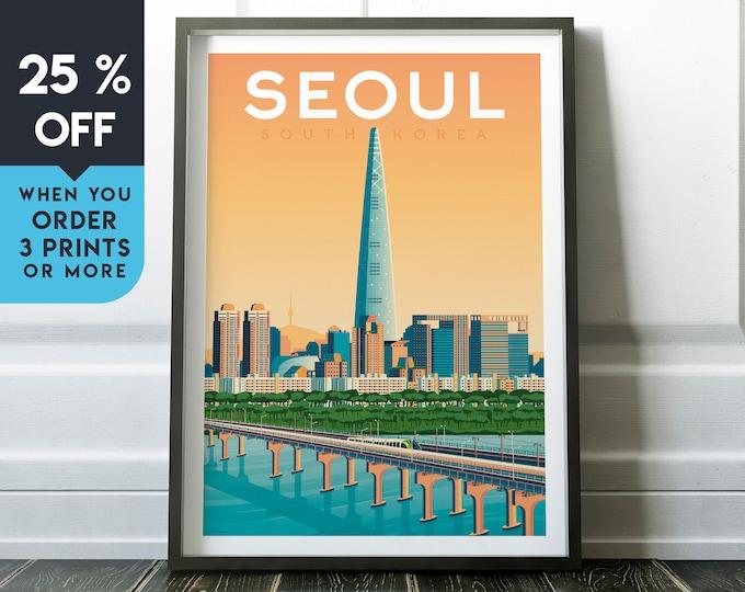 Seoul South Korea Vintage Travel Poster, Wall Art Print, Minimalist, City Skyline, World Map Art, Cityscape illustration, Home Decor, Gift