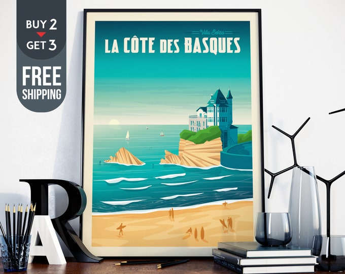 Biarritz France Travel Poster Vintage Poster, France print, Sea Surf wall art, Beach Surf home, wall decoration, Surf sea Travel gift idea