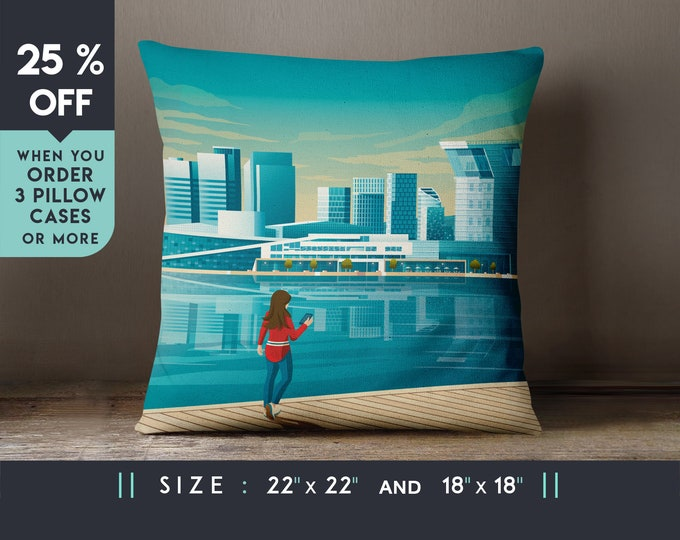 Oslo Norway Pillow Case [22x22] Cushion cover, Travel Art Print, Geometry Minimalist, City Skyline, Cityscape illustration, Decor Gift
