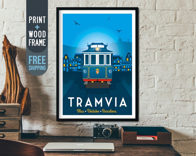 Barcelona Spain Vintage Travel Poster, framed poster, Barcelona wall art, home decoration, wall decoration, Spain gift idea, retro print
