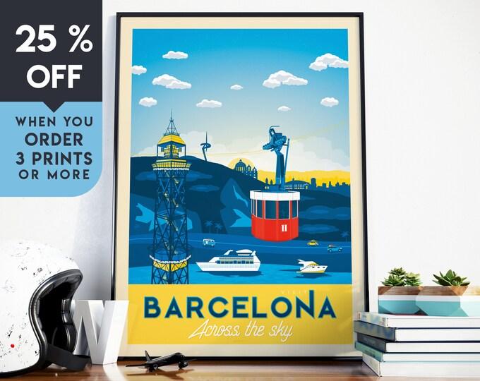 Barcelona Spain Vintage Travel Poster, Wall Art Print, Minimalist, City Skyline, World Map Art, Cityscape illustration, Home Decor, Gift