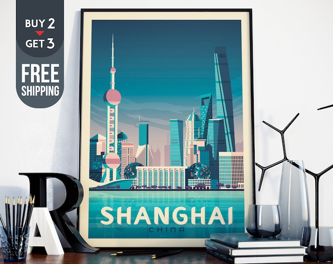 Shanghai China Asia Vintage Travel Poster, Shanghai City vintage print, asia wall art, home decor, Shanghai skyline, travel decor, asia gift