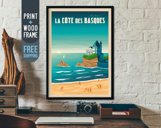 Biarritz France Travel Poster - Surf Vintage Travel Poster, Biarritz vintage print, wall art, home decoration, art deco print, Beach poster