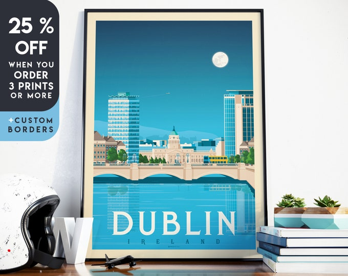 Dublin Print | Dublin Vintage Travel Poster | Ireland Print | Dublin Poster | Ireland Poster | City Skyline Wall Art | Home Decor | Gift