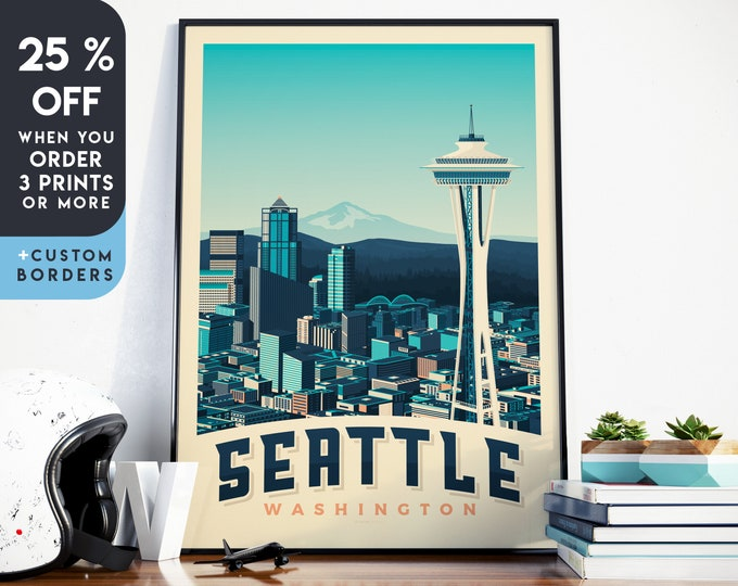 Seattle Print | Seattle Vintage Travel Poster | United States Print | Seattle Poster | City Skyline Wall Art | Home Decor | Gift