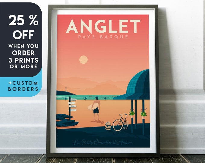Anglet Print | Anglet Vintage Travel Poster | France Print | Beach Poster | Surf Poster | City Skyline Wall Art | Home Decor | Gift