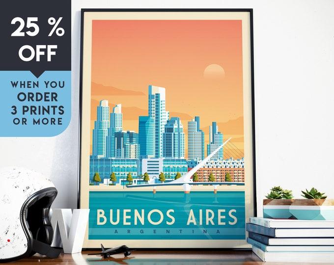 Buenos Aires Argentina Vintage Travel Poster, Wall Art Print, Minimalist, City Skyline, World Map Art, Sunset illustration, Home Decor, Gift