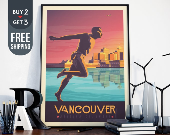 Vancouver Canada Print - Canada Vintage Travel Poster, vintage print, canada wall art, home decoration, wall decoration, canadian gift idea